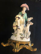 Meissen Dresden 18th C Porcelain Figurine Of Boy With A Dog On A Bronze Stand