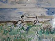 1941 Dutch Mid Century Modernist Watercolor Of Geese, Signed With Monogram K.e.