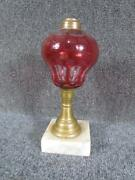 Antique American 19thc. Overlay Oil Lamp Attr. To Sandwich Glass Co.