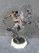 Vintage Cowboy And Horse Bronze Statue By Texas Artist Scott Roger