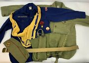 Vintage Bsa And Cub Scout Shirts, Belt, Button, Scarf And Hat.