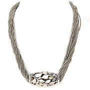 18k Yellow Gold And Sterling Silver Abstract Bead Multi Strand Necklace