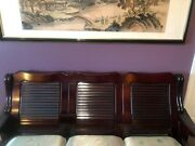 Antique Oriental Furniture Mahogany Couch W Five Seats And Coffee Table
