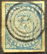 Stamp Norway Norge 1855.sg1-coats Of Arms.4sk.blue.margins Cancel Fine Oe203