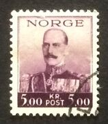 Stamp Norway Norge 1937 1938 Sg258.king Haakon. 5kr.fine Used.oe205 Very Rare