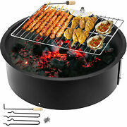24 32 36 42 45 Steel Fire Ring W/ Cooking Grate Campfire Pit Park Bbq Grill