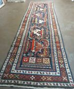 3and039 7 X 14and039 Antique Hand Made Caucasian Wool Rug Carpet Nice