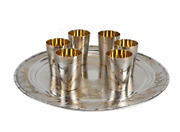 Japanese Gilt 800 Solid Silver Sake Tray And Cups