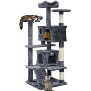 54 Cat Tree Activity Tower Pet Kitty Furniture With Scratching Posts And Ladders