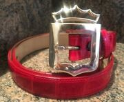 Rare Kieselstein-cord Sterling Royal Crown Buckle And Red Alligator Belt
