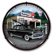 1957 Chevy Mobilgas Mobil Game Room Man Cave Backlit Led Lighted Wall Clock New