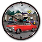 1967 Chevy Red Nova Sunoco Game Room Man Cave Backlit Led Lighted Wall Clock