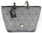 New Disney Dooney And Bourke Haunted Mansion Wallpaper Grey Tote Bag Large Purse