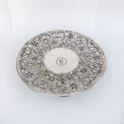 Large Serving Plate Centerpiece Open Work Floral Designs Sterling Silver