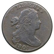 1801 S-219 R-2 3 Error Reverse Draped Bust Large Cent Coin 1c