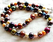 100 329.40ct Genuine Fancy Color Freshwate Pearl 925 Sterling Silver Necklace.