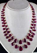 Natural Pink Tourmaline Rubellite Beads Tear Drops 2 Line 282 Carats Necklace