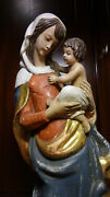 22 Vintage Hand Carved Wood Baroque Our Lady Virgin Mary Madonna And Jesus Statue