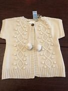 Jacadi Girls Sweater Size 6 Color Beige With Cable Knit And Pom Pom Design