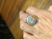 Vintage Large Silver White Bronze Inlay Stone Crest Men's Ring Size 10