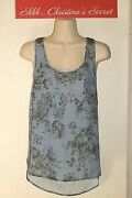 Eyeshadow Blouse Top Racer Back Blue Floral/antique Pewter Beaded Sz L Vg-xlnt