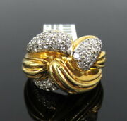 Vintage Rotkel 1.0ct Diamond And 18k Yellow Gold Curved Dome Ring Size 5.25