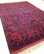 Vintage Hand-knotted Red Persian Kurdish Tribal Carpet Area Rug