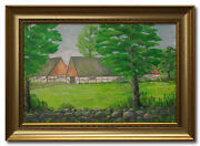 Farm And Stone Fence - Swedish Oil Painting