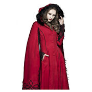 Adult Womens Victorian Red Queen Heart Little Riding Cosplay Costume Hooded Coat