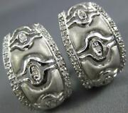 Estate Wide .26ct Diamond 14kt White Gold 3d Matte And Shiny Clip On Earrings