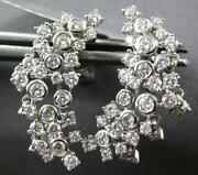Estate 1.26ct Diamond 18kt White Gold Handcrafted Moon Chandler Hanging Earrings