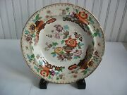 Early Ironstone Saxon China Flat Rimmed Soup Bowl C1835 Carey Anchor Works Peony