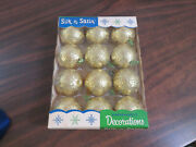 12 Gold Silk-n-satin Unbreakable Christmas Decorations Vintage Ornaments Lidco