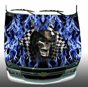 Racing Skull Checkered Flag Blue Flame Fire Hood Wrap Vinyl Decal Graphic