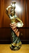 Vintage 12 Wooden Hand Carved Girl Woman Water Bearer Carrier Statue Figurine