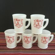 Mckee Tom And Jerry Milk Glass Replacement Cups Red Lettering