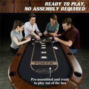 Poker Table Casino Style 10 Player Table With Padded Rails And Steel Cup Holders