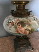 19th C Victorian Lamp Oil Gwtw Gone With The Wind Cherubs Bronze