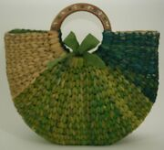 Missoni Italian Beach Tote Hand Painted Wood Handles Green Dyed Straw Vintage