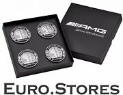 Original Amg Hub Cap Set With Amg Emblem Silver Black Mercedes-benz New