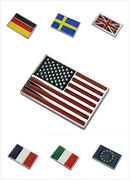 Alloy National Flag Car Sticker Badge Decal American Uk Eu Italy Germany France