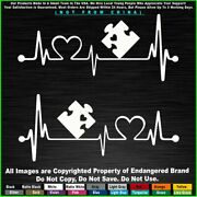 Autism 2 Heartbeat Puzzle Different Not Less Awareness Car Truck Sticker Decal