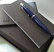 Alfred Dunhill Ad2000 Blue Silver Tone Ballpoint Rollerball Pen With Box