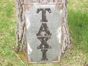 Old Vintage Antique Style Taxi Cab Station Tin Metal Wall Art Sign Logo Mancave