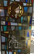 Stained Glass Door Panel, White Church With Steeple And Woman's Face