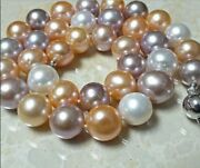 Huge 1813-16mm Natural South Sea Genuine Gold Pink Purple Round Pearl Necklace
