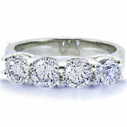 1 Ct Total 4 Round Cut Diamond Band Platinum Ring 0.25 Ct Each F-g Color Vs/si1