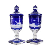 Pair Bohemian Two Layer Blue Cut Clear Glass Lidded Urns 19th Century