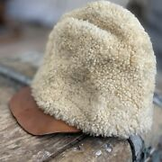 Vintage Rare Wool Shearling Leather Military Winter Hat Alf Stamped 1912 History