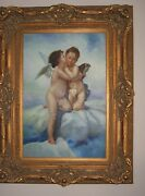 The First Kiss Cupid And Phsyce 51x 39 Oil Painting In Gold Gilded Frame